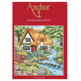 Cross Stitch Kit: Cottage Stream By Anchor
