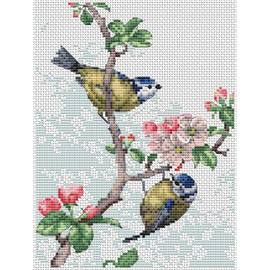 Blue Tits and Blossoms Cross Stitch Kit by Natural World