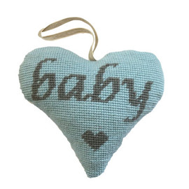 Baby Boy Lavender Heart (Grey on Blue) Tapestry Kit By Cleopatra Needles