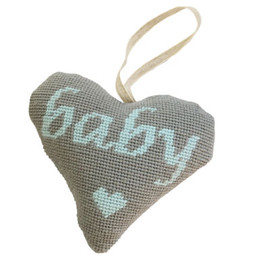 Baby Boy Lavender Heart (Blue on Grey) Tapestry Kit