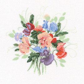 Sweet Pea Posy Cross Stitch Kit By Heritage