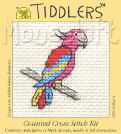 Red Parrot Cross Stitch Kit by Mouse Loft