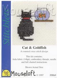 Cat and Goldfish Cross Stitch Kit by Mouse Loft