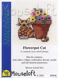 Flowerpot Cat Cross Stitch Kit by Mouse Loft