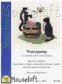 Cat at Waterpump Cross Stitch Kit by Mouse Loft