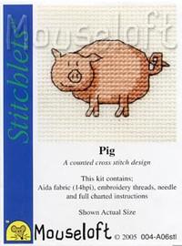 Pig Cross Stitch Kit by Mouse Loft