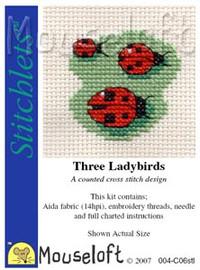 Three Ladybirds Cross Stitch Kit by Mouse Loft