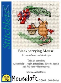 Blackberrying Mouse Cross Stitch Kit by Mouse Loft