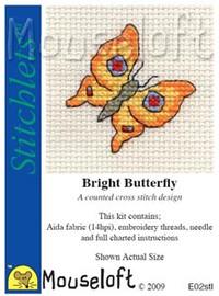 Bright Butterfly Cross Stitch Kit by Mouse Loft