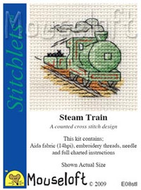 Steam Train Cross Stitch Kit by Mouse Loft