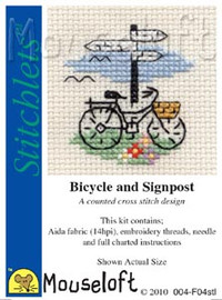 Bicycle and Signpost Cross Stitch Kit by Mouse Loft