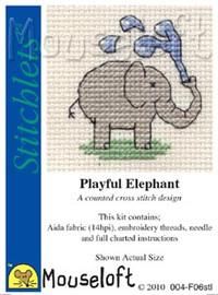 Playful Elephant Cross Stitch Kit by Mouse Loft