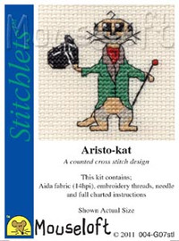 Aristo-kat Cross Stitch Kit by Mouse Loft