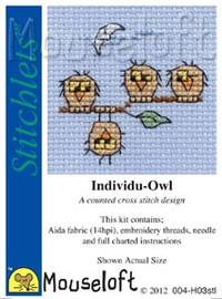 Individu-Owl Cross Stitch Kit by Mouse Loft