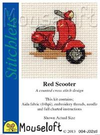 Red Scooter Cross Stitch Kit by Mouse Loft