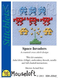 Space Invaders Cross Stitch Kit by Mouse Loft