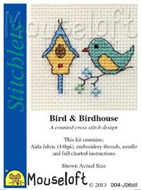 Bird & Birdhouse Cross Stitch Kit by Mouse Loft