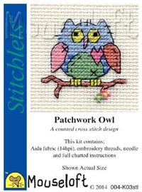 Patchwork Owl Cross Stitch Kit by Mouse Loft