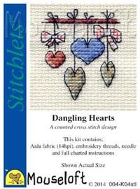 Dangling Hearts Cross Stitch Kit by Mouse Loft