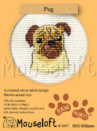 Pug Cross Stitch Kit by Mouse Loft