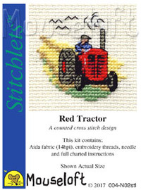 Red Tractor Cross Stitch Kit by Mouse Loft
