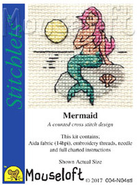 Mermaid Cross Stitch Kit by Mouse Loft