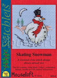 Skating Snowman Cross Stitch Kit by Mouse Loft