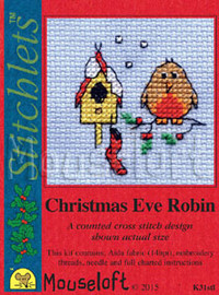 Christmas Eve Robin Cross Stitch Kit by Mouse Loft