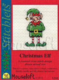 Christmas Elf Cross Stitch Kit by Mouse Loft