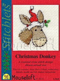Christmas Donkey Cross Stitch Kit by Mouse Loft