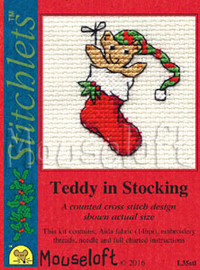Teddy in Stocking Cross Stitch Kit by Mouse Loft