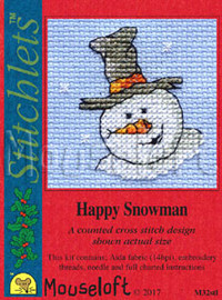 Happy Snowman Cross Stitch Kit by Mouse Loft