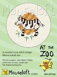 Zebra Cross Stitch Kit by Mouse Loft