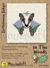 Bartholomew Badger Cross Stitch Kit by Mouse Loft