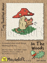 Tiny Toadstool Mouse Cross Stitch Kit by Mouse Loft