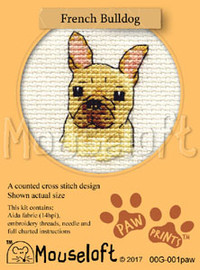 French Bulldog Cross Stitch Kit by Mouse Loft
