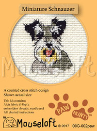 Miniature Schnauzer Cross Stitch Kit by Mouse Loft