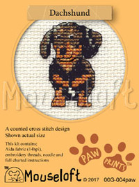 Dachshund Cross Stitch Kit by Mouse Loft