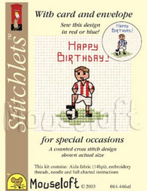 Little Footballer Cross Stitch Kit by Mouse Loft