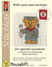Graduation Teddy Cross Stitch Kit by Mouse Loft
