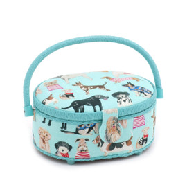 Dogs in Jumpers  Small Oval Sewing Box By Hobby Gift
