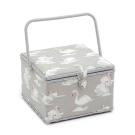 Swans Pebble  Large Square Sewing Box By Hobby Gift