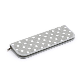 Grey Linen Polka Dot  Knitting Pin Case (Filled with Pony Pins) By Hobby Gift