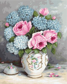 Roses and Hydrangeas Cross Stitch Kit By Luca S