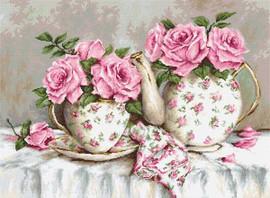 Morning Tea & Roses  Cross Stitch Kit By Luca S