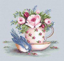 Bird and Teacup on Aida Cross Stitch Kit By Luca S