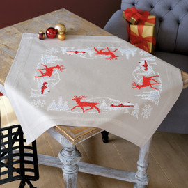 Norwegian Winter Table Cloth Cross Stitch Kit By Vervaco