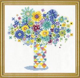 Blue Floral Quilt Vase Cross Stitch Kit By Design Works