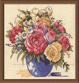 Pastel Floral Vase Cross Stitch Kit By Design Works