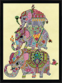 Elephant Trio Cross Stitch Kit By Design Works